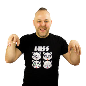 HISS (KISS Band Parody) Cat T-Shirt - BravoPapa Clothing