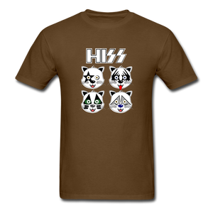 HISS (KISS Band Parody) Cat T-Shirt - brown