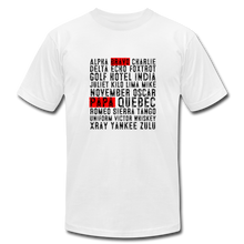 Load image into Gallery viewer, Bravo Papa Phonetic Alphabet T-shirt - white