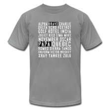Load image into Gallery viewer, BravoPapa Phonetic Alphabet Reverse T-shirt - slate