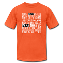 Load image into Gallery viewer, BravoPapa Phonetic Alphabet Reverse T-shirt - orange