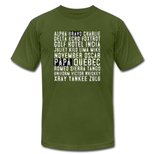 Load image into Gallery viewer, BravoPapa Phonetic Alphabet Reverse T-shirt - olive