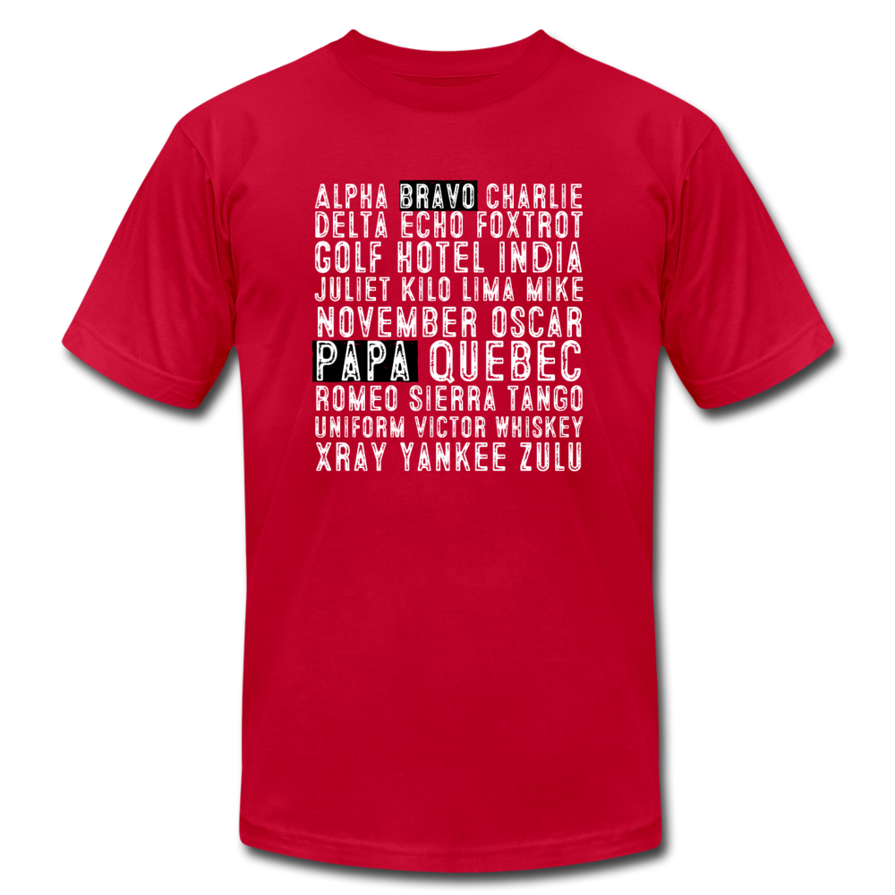 BravoPapa Phonetic Alphabet Reverse T-shirt - red