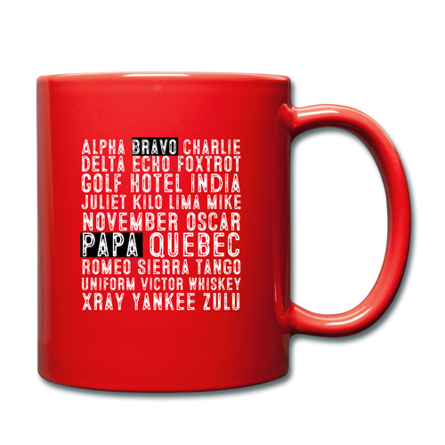 BravoPapa Phonetic Alphabet Mug - red
