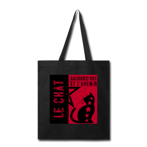 Cat Propaganda Tote Bag - black