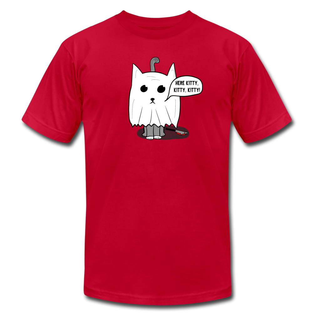Here Kitty Kitty Ghost Cat Halloween T-shirt - BravoPapa Clothing