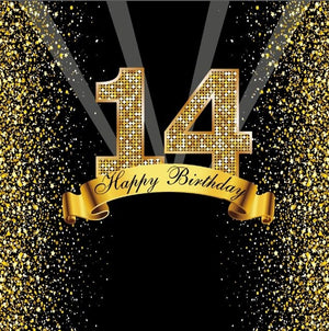 Laeacco Happy 18 25 30 40 50 55th Birthday Party Gold Dots Banner Party Poster Photo Backgrounds Photocall Photography Backdrops