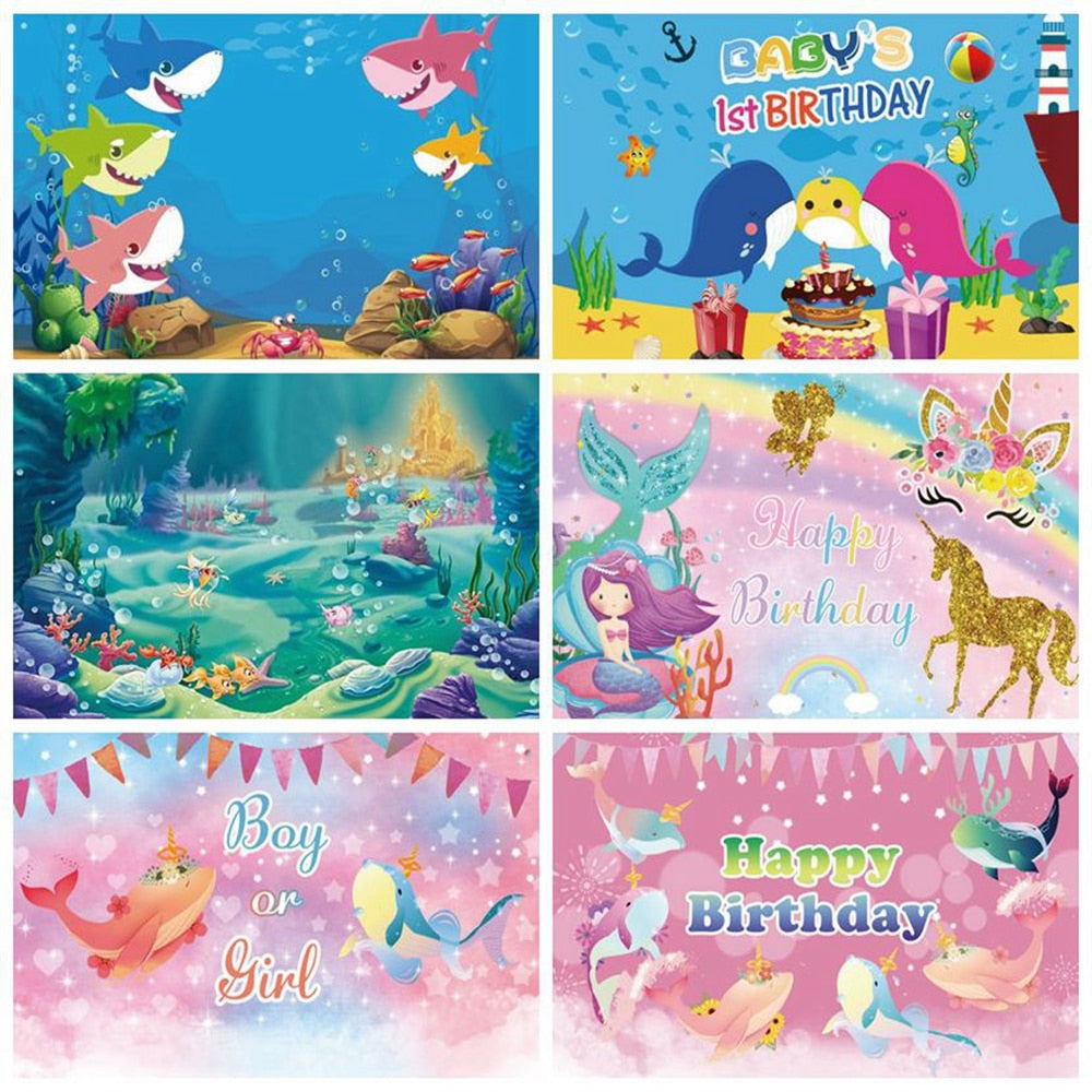 Mermaid Unicorn Shark Fish 1st Birthday Party Backdrop Baby Shower Boy Birthday Party Photography Background For Photo Studio