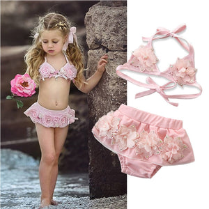 2020 Summer Baby Girls Swimsuits Pink Floral Two Piece Swimwear For Girl Imitation Pearls Bikini Set Children Swimming Suit Kids