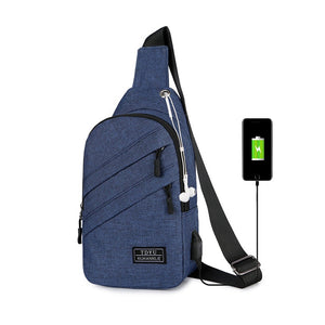 USB Cross Chest Bag Sling Mini Crossbody Backpack For Men Shoulder Bags + Free Magic Wallet
