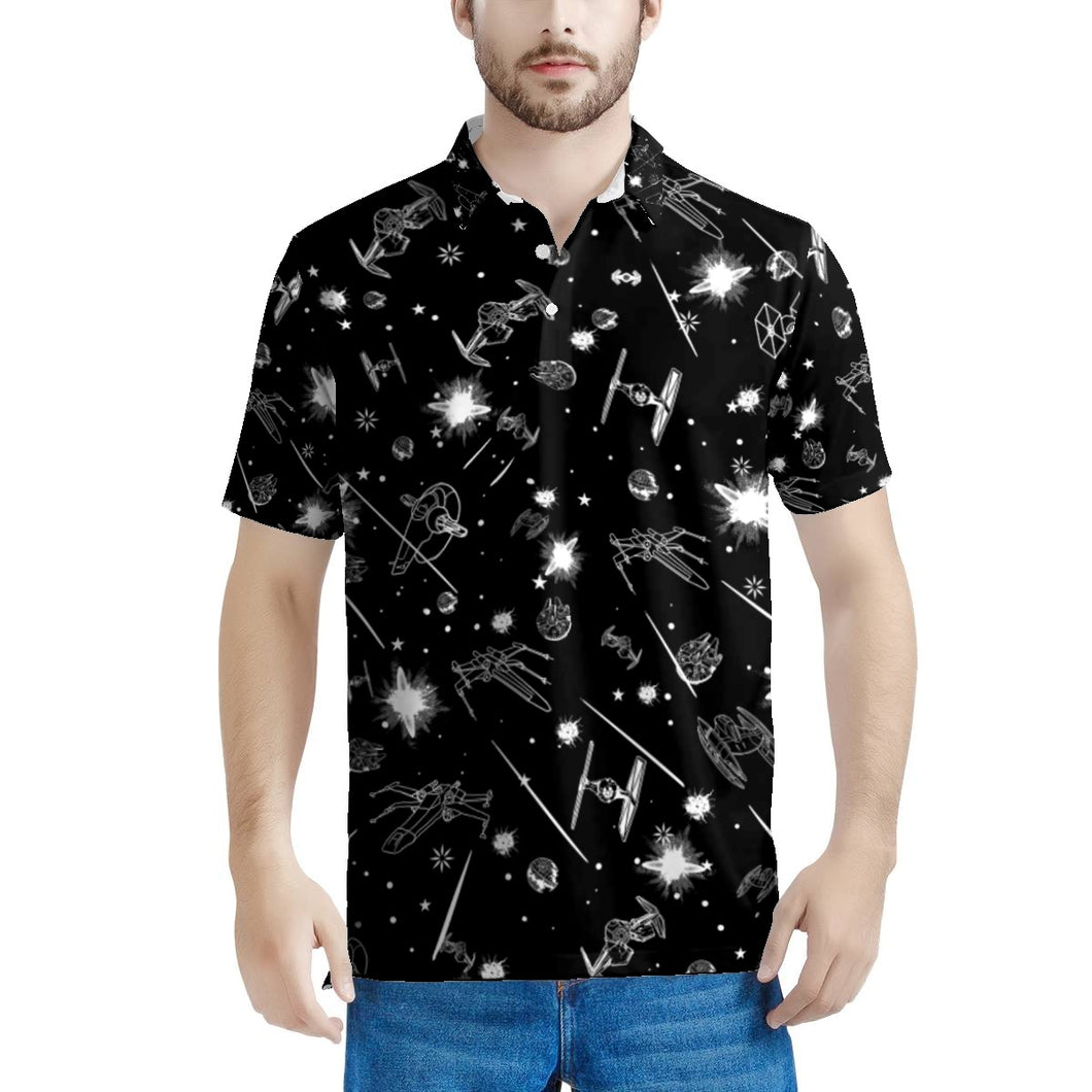 Polo Space Star Battle Men's All Over Print Polo Shirt
