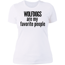Load image into Gallery viewer, Wolfdogs are my favorite people T-Shirt black writing