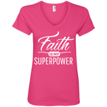 "Load image into Gallery viewer, Celebrate Life ""Faith Is My Superpower"" Faith Shirts For Women V-neck + Free Empowerment Bracelet"