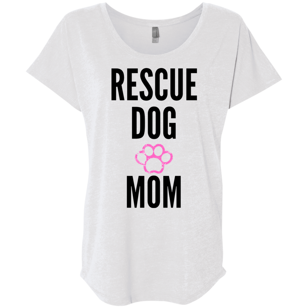 Rescue Dog Mom Next Level Ladies' Triblend Dolman Sleeve