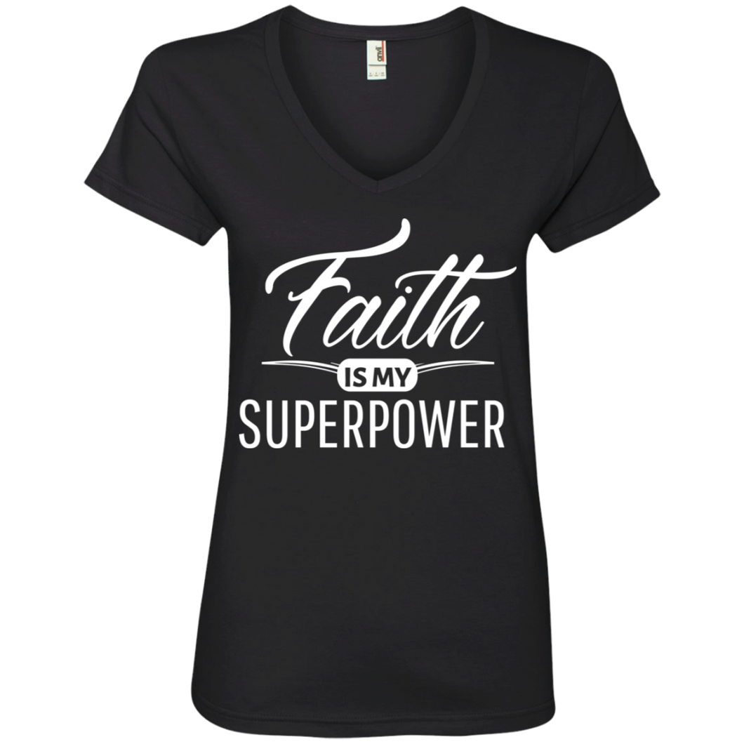 "Celebrate Life ""Faith Is My Superpower"" Faith Shirts For Women V-neck + Free Empowerment Bracelet"