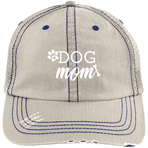 Dog Mom Distressed Unstructured Trucker Cap