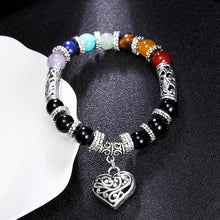 Load image into Gallery viewer, 7 Chakras Natural Stone Heart Bracelet
