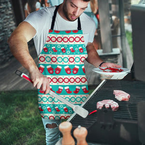 Christmas Light Blue Good Vibes Only Men's Apron