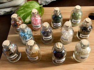 Gemstone crystal glass bottle set tumbled crafts crafting reiki grid roller