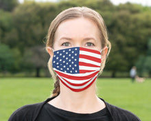 Load image into Gallery viewer, Custom Patriotic British American Flag Mask, Flag, Reusable, Washable, Mouth Cover, For Men, For Women, For Children, Facemask, Made USA UK