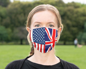 Custom Patriotic British American Flag Mask, Flag, Reusable, Washable, Mouth Cover, For Men, For Women, For Children, Facemask, Made USA UK