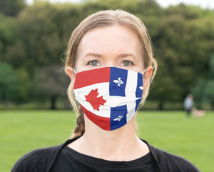 Custom Quebec Flag Mask, Quebecois Flag, Reusable, Washable, Mouth Cover, For Men, For Women, For Children, Facemask, Canada Masks