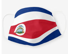 Load image into Gallery viewer, Custom Patriotic Costa Rica Flag Mask, Flag, Reusable, Washable, Mouth Cover, For Men, For Women, For Children, Facemask, Costa Rica Pride