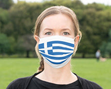 Load image into Gallery viewer, Custom Greece Flag Mask, Greek Flag Gifts, Reusable, Washable, Mouth Cover, For Men, For Women, For Children, Facemask, Greek Masks