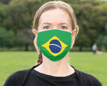 Load image into Gallery viewer, Custom Brazil Flag Mask, South American Flag, Reusable, Washable, Mouth Cover, For Men, For Women, For Children, Facemask, Brazilian Masks