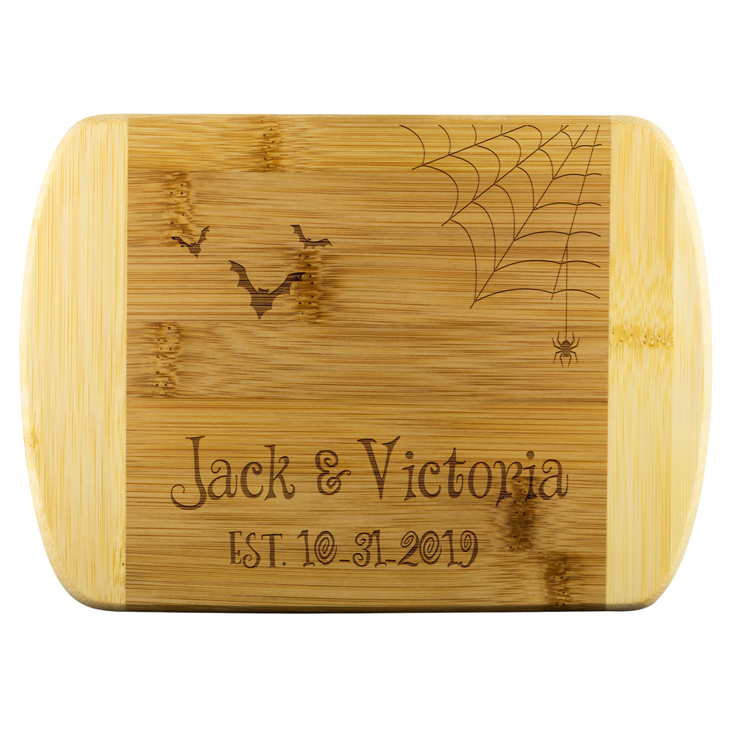 Halloween Wedding Gift. Personalized Cutting Board with Spiderweb, Spider, Custom Names and Date. Gothic Engagement Present for October 31.