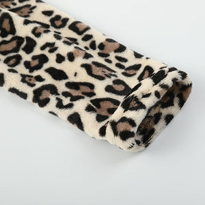 Women's Sexy Faux Fur Leopard Jacket For Winter + Free Smartphone Gloves