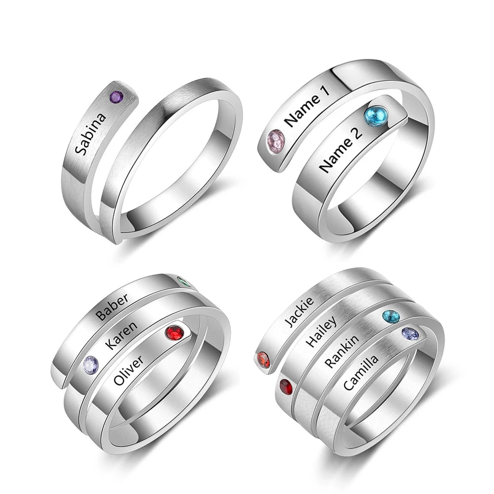 Personalized Birthstone Rings for Women Engraved Jewelry Gifts For Her Anniversary
