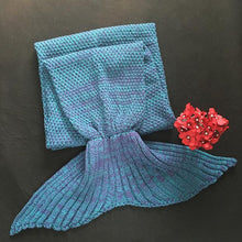 Load image into Gallery viewer, Crochet Knit Mermaid Tail Blanket + Free Seashell Necklace