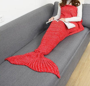 Crochet Knit Mermaid Tail Blanket + Free Seashell Necklace