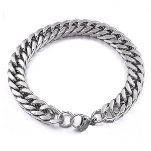 Men's Silver Bracelet Stylish Stainless Steel Thick Vintage Chain