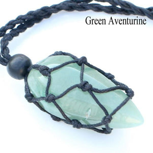 Handmade Hemp Wrapped Crystal Necklace