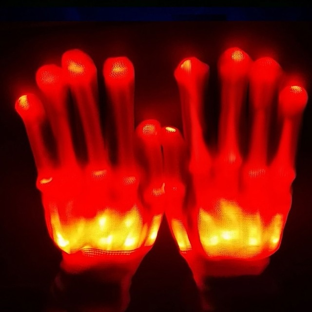 Glow Gloves LED Skeleton Flashing Finger Lights - 7 Speed Enhanced Party Color Changing