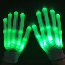Load image into Gallery viewer, Glow Gloves LED Skeleton Flashing Finger Lights - 7 Speed Enhanced Party Color Changing