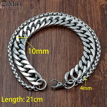 Load image into Gallery viewer, Men's Silver Bracelet Stylish Stainless Steel Thick Vintage Chain