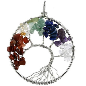7 Chakra Quartz Natural Stone Tree of Life Necklace