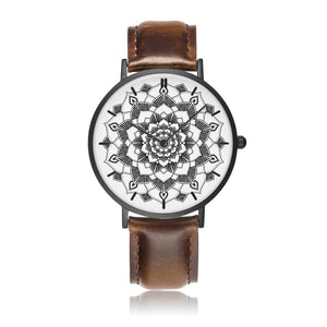 Monochromatic Genuine Leather Mandala Watch