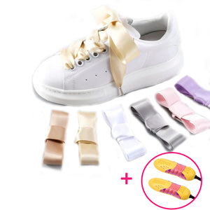 Holiday Bundle – Women Satin Shoelaces Silk Ribbon Pair + Free Shoe Dryer Today