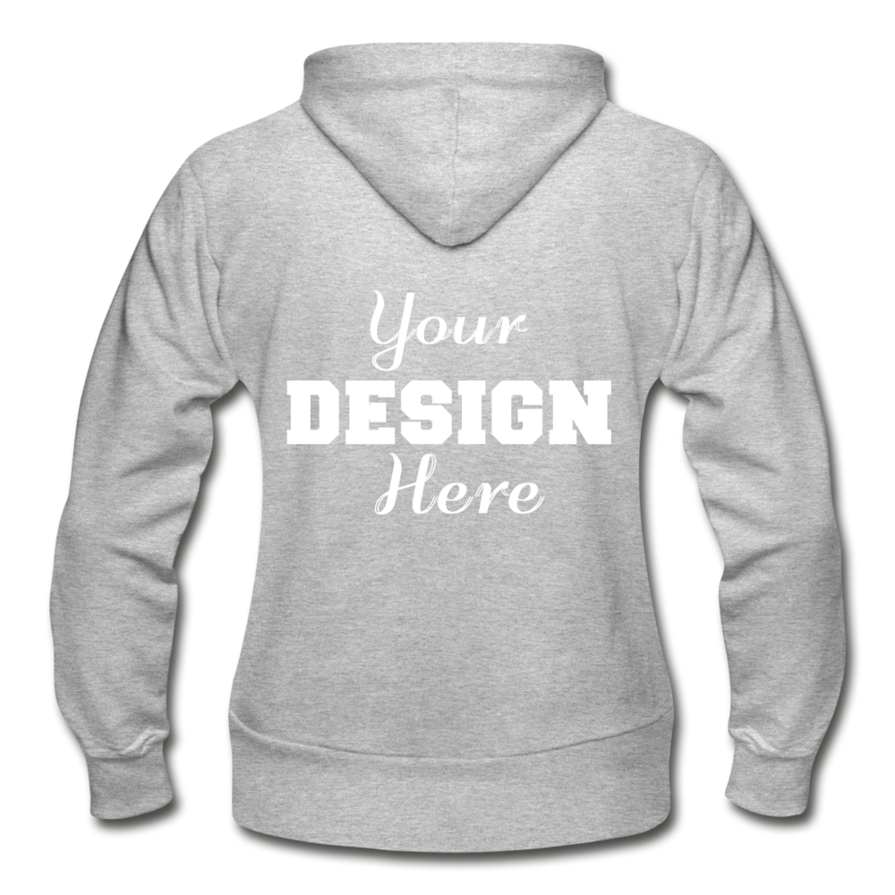 Custom Back Design Gildan Heavy Blend Women's Zip Hoodie - heather gray