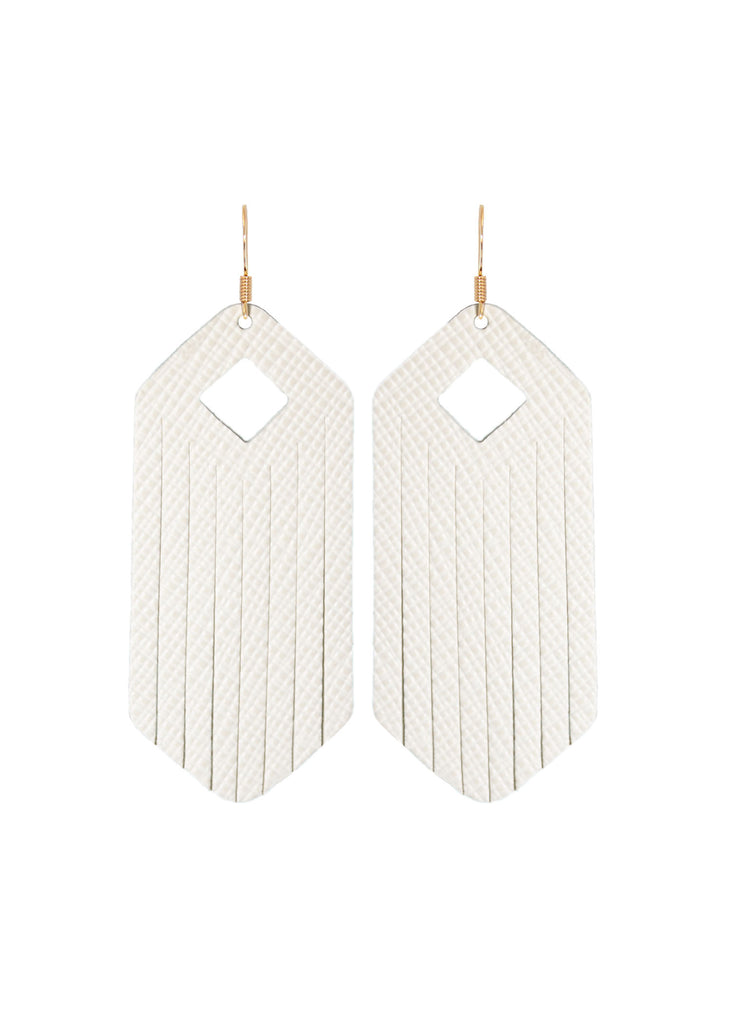Ivory Leather Fringe Earrings