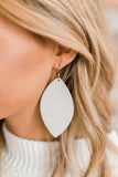 Eggshell Leather Petal Earrings