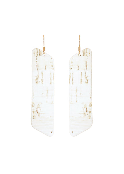White Cork Leather Side Bar Earrings