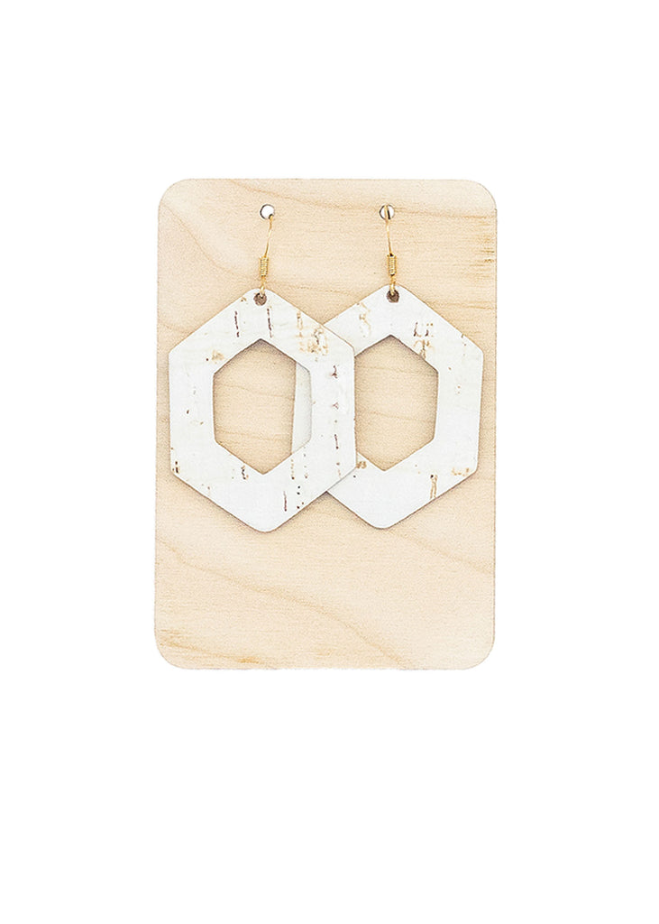 White Cork Leather Hive Earrings