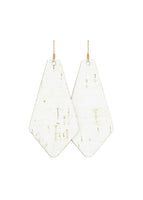 White Cork Leather Tie Earrings