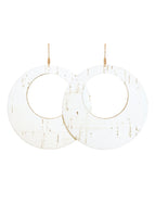 White Cork Leather Loop Earrings