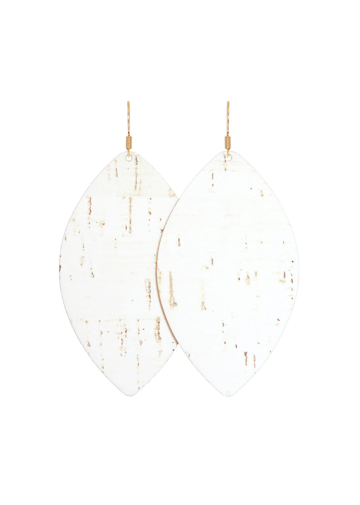 White Cork Leather Petal Earrings